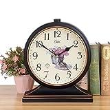 BLFJJYP き クロック ヴィンテージ時計▏リビングルーム大きなデスクトップクロック振り子時計デスクトップ▏創造的な着席時計▏時計装飾品 (Color : Black gold)