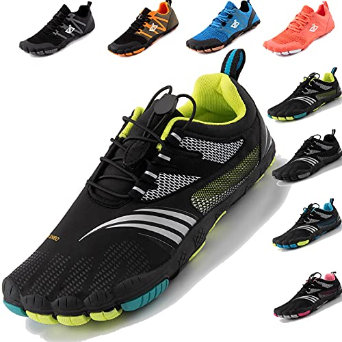 JACKSHIBO Barfussschuhe Herren Barfußschuhe Damen Minimalistische Traillaufschuhe Leicht rutschfest Laufschuhe Zehenschuhe Atmungsaktiv Fitnessschuhe Indoor & Outdoor (Schwarz Grün,43EU)