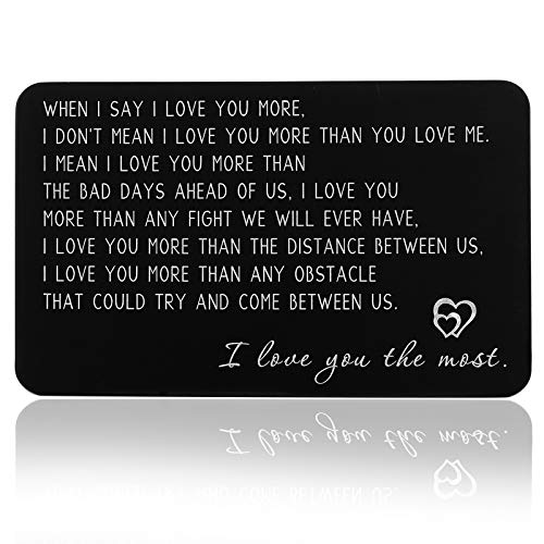 I Love You Wallet Card Insert Anniversary Gif for Men Christmas Gifs for Boyfriend Valentine Day Couple Gifs for Husband Fathers Day for Him Birthday Wedding for Groom Fiance Him