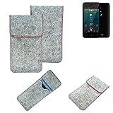 K-S-Trade® Handy Schutz Hülle Für Allview P42 Schutzhülle Handyhülle Filztasche Pouch Tasche Hülle Sleeve Filzhülle Hellgrau Roter Rand