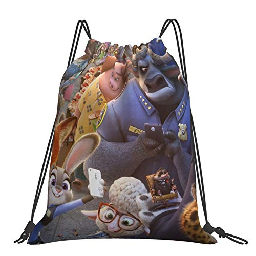 Crazy An-imal City Chief Niu Sack Drawstring Backpack Outdoor Portable Backpacks Large Capacity School Bag Canvas Sports Swimming Travel Beach Unisex Rucksack