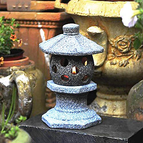 GECOKU Linterna de jardín Japonesa Pagoda Lmitation Efecto de Piedra Tallado a Mano Estatua de decoración de jardín, D + 30cm
