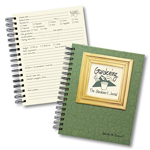 """Journals Unlimited""""Write it Down!"""" Series Guided Journal, Gardening, The Gardener's Journal, with a Green Hard Cover, Made of Recycled Materials, 7.5""""x 9"""""""