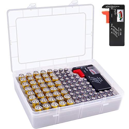 Batterie Aufbewahrungsbox - Batterien Aufbewahrung Organizer mit Batterietester Akkutester BT-618. Batterieaufbewahrungsboxfasst hält 225 Batterien für 9V Block batterien Akku AA, AAA, C, D, 1.5V (M)