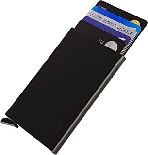 Dlife Credit Card Holder RFID Blocking Aluminum Business Card Holder Automatic Pop-up Card Case (Black)