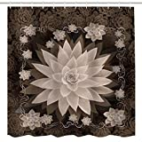 BROSHAN Fabric Shower Curtain Floral Design, Retro Vintage Unique Lotus Flower Pattern Art Print Bathroom Sets, Brown White Fabric Waterproof Shower Curtain with Hooks, 72 inches
