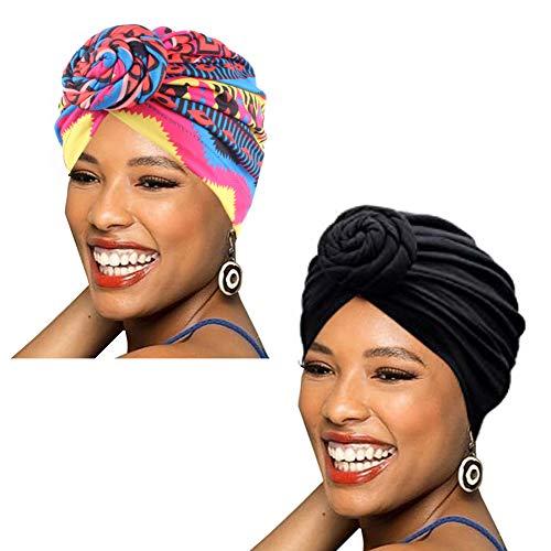 Babahu Lot de 1/2/4 bonnets en forme de turban pour femme en coton Motif africain - - Taille unique