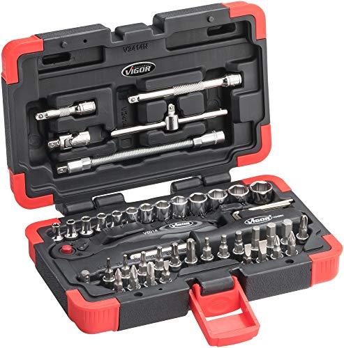 Vigor Steckschlüsselsatz (1/4 Zoll, mit zahlreichen Bits und Steckschlüsseln, flexibel Dank Verlängerungen und Adaptern, 46 Einzelteile) V2414N