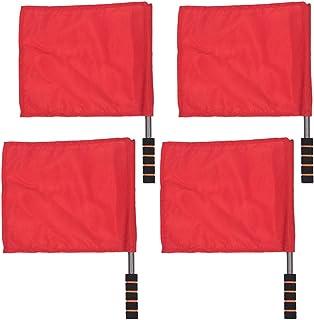 BESPORTBLE 4 Piezas Banderas de Señal de Mano de Acero Inoxidable Polo Partido Bandera de Comando de Color Sólido Bandera de Árbitro para Pista Y Campo de Fútbol (Rojo)