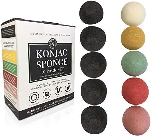 Konjac Sponge Set 10 Pack Bulk Activated Bamboo Charcoal Facial Sponge Gentle Exfoliating Makeup product image
