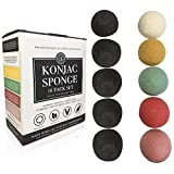 Konjac Sponge Set 10 Pack- Bulk Activated Bamboo Charcoal Facial Sponge Gentle Exfoliating Makeup Remover Pad with Turmeric, French Green, Rose and Red Clay for Face and Body by Bare Essentials Living
