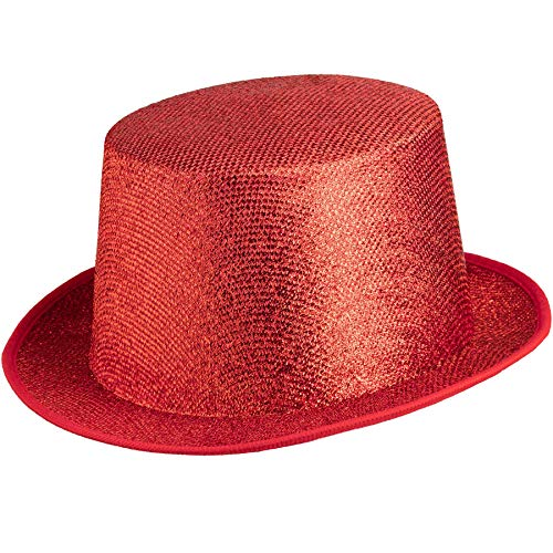 dressforfun 901029 Unisex Glitzer Zylinder Show Hut, nach Oben gewölbte Krempe, stabile Form - Diverse Farben - (rot | Nr. 304584)