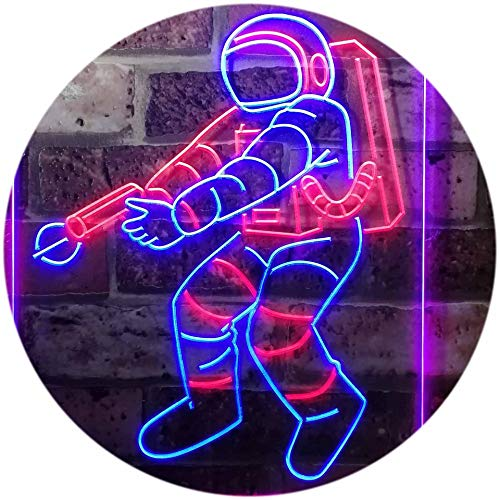 """ADVPRO Astronaut Space Rocket Shuttle Kid Room Dual Color LED Neon Sign Red & Blue 12"""" x 16"""" st6s34-i3136-rb"""