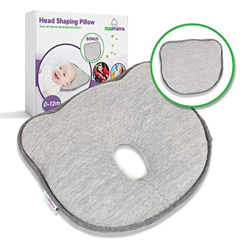 Cuumama Baby Pillow & Baby Head Shaping Pillow with Soft Memory Foam and Removable Washable 100% Cotton Cover, Baby Flat Head Pillow and Baby Head Pillow, Infant Head Shaping Pillow and Infant Pillow