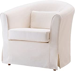 Easy Fit The Ektorp Tullsta Chair Cover Replacement is Custom Made for IKEA Tullsta Cover, A Armchair Sofa Slipcover Replacement (White-Cotton)