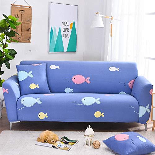 Funda Elástica de Sofá Cubre Antideslizante/Protector Ajustables de Sofá, Decorativas Fundas Pescado Azul Impresa -para Sofas, con Cuerda de Fijación (1 Plazas:90-140cm)+1 Fundas de Almohada