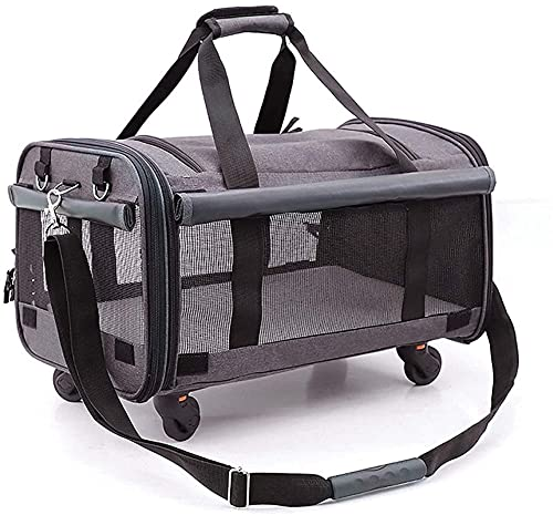 DSAEFG Pet Cat Dog Outdoor Bags, Soft-Sided Pet Travel Carrier for Dogs and Cats Pet Trolley Bag Multi Backpack Rabbit Puppy Dogs Portable Suitcase Pet Box, (Color : Dark gray)