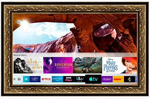 Framed Mirror TV with Samsung 50 inch 4K Ultra HD HDR Smart LED TV TVPlus. Gold Ornate Frame