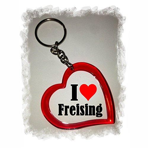 Druckerlebnis24 Herz Schlüsselanhänger I Love Freising - Exclusiver Geschenktipp zu Weihnachten Jahrestag Geburtstag Lieblingsmensch