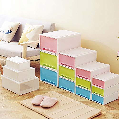 Homieco Contenitori impilabili per armadi a cassetti in plastica con cassettiera in plastica impilabile, X-Large/Blu