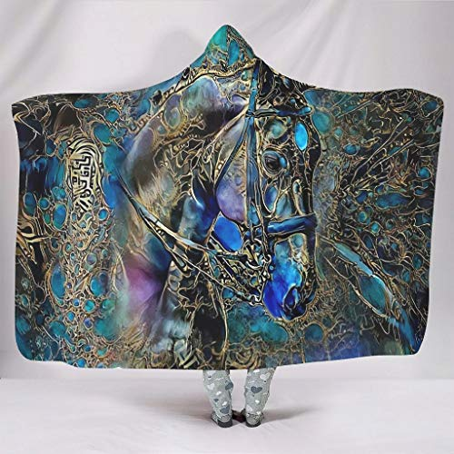 Fineiwillgo Manta con capucha de caballo sintético, muy suave y cómoda, con capucha, para niñas, sofá o sillón, color blanco, 150 x 200 cm