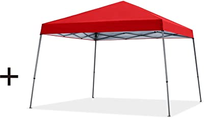 MASTERCANOPY Slant Leg Pop-up Canopy (12'x12', Red) + MASTERCANOPY Pop-up Instant Canopy (12'x12', Red)