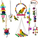 ESRISE 8 Pcs Bird Parrot Toys, Hanging Bell Pet Bird Cage Hammock Swing Toy Wooden Perch Chewing Toy for Small Parrots, Conures, Love Birds, Small Parakeets Cockatiels, Macaws, Finches