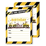 Orange Tractor Road Construction Zone Birthday Party Invitations for Boy, Yellow Builder Hammer Bulldozer Truck Digging Invitations for Kids, Traffic Sign Tape Theme Bday Supplies, (5' x 7', 30 Pack)