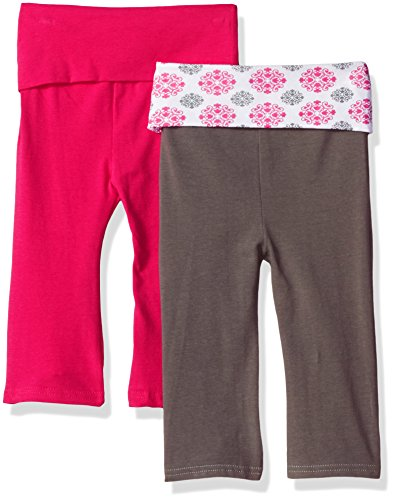 Yoga Sprout Unisex-Baby Yoga Pants, 2 Pack, Pink Medallion, 6-9 Months