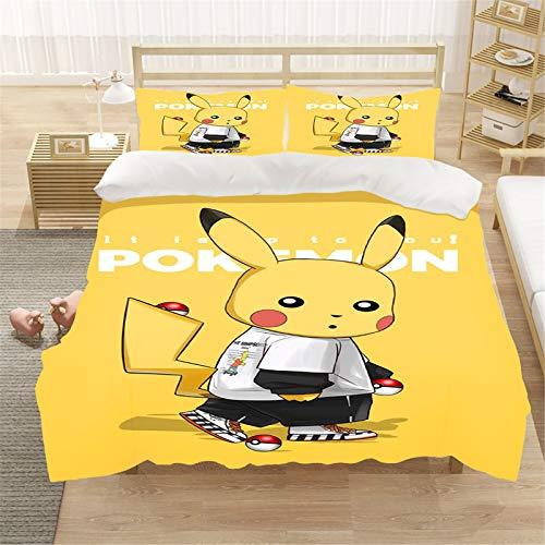 Goplnma Parure de lit Pokémon 3D pour enfant - En polycoton, multicolore. Housse de couette douce et confortable pour toutes les saisons (200 x 200 cm, 14).