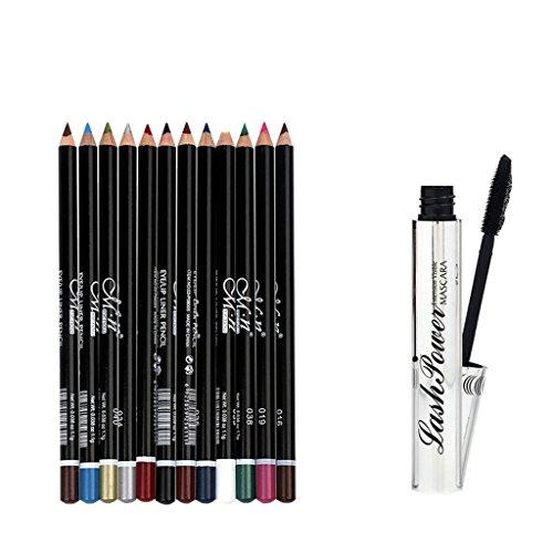 MagiDeal 3D Long Curling Mascara Noir à Cils + 12 Couleurs Crayon à Sourcils Crayon à Lèvres Eyeliner Stylo - Kit Outils de Yeux Maquillage