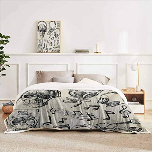 "YUAZHOQI Music Throw Blankets for Couch Sketchy Background Hipster Skull with Headphones Record Player Mic Speakers Print Throw for Girlfriend Best Friend 50"" x 60"" Beige Black"
