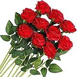 Veryhome 10 pièces Artificielle Roses Fleurs De Soie Faux Bouquets Floraux pour La Décoration De Mariage Maison Décoration De Fête d'anniversaire Jardin Décor (Rouge - Roses épanouies)