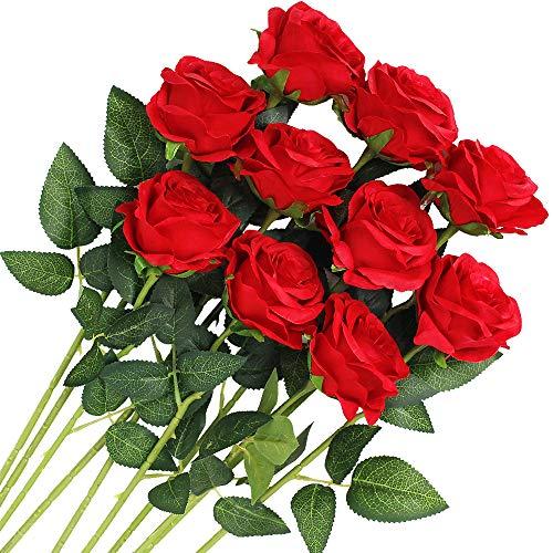 Veryhome 10 Stücke Künstliche Rosen Silk Blumen Gefälschte Flowers Braut Hochzeit Bouquet Für Hausgarten Geburtstag Party Home Wedding Dekor (Rot - Blühende Rosen)