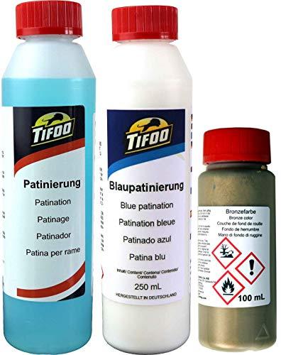 Set Acryl Effekt Farbe Bronze Patinierung Brünierung Grünspan 100 mL + 2x250 mL – Alterungseffekte und Patina auf allen Oberflächen