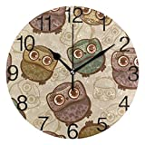 Voxpkrs Whale Spray Water Design Round Wall Clock, Silent Non Ticking Oil Painting Decorative for Home Office School Clock Art