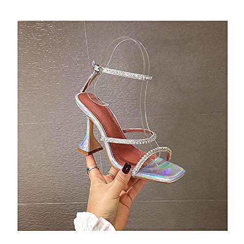 YUEXIANG Mujer Moda de Casual Zapatos de Punta Abierta Nueva Hebilla de Punta Cuadrada Copas de Vino Banquete Moda Tacones Altos Todo fósforo,Silver-35