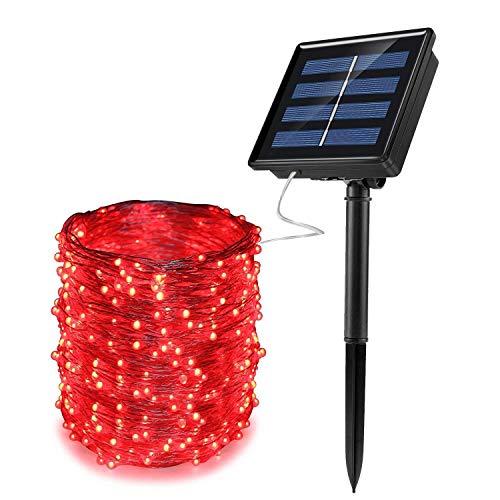 GZSC Solar Led-lichtsnoer met snoer, waterdicht, feestelijke koperdraad, voor feestjes, patio, tuin, bruiloft, kerstdecoratie