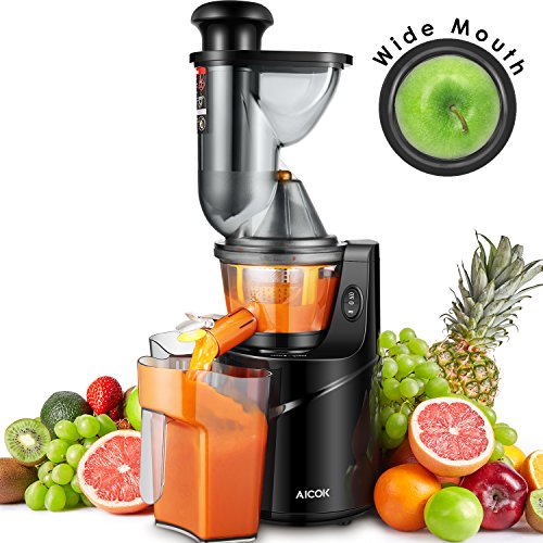 Juicer Machine Masticating Slow Juicer Extractor, Aicok 3' Wide Mouth Whole Masticating Juicer with...