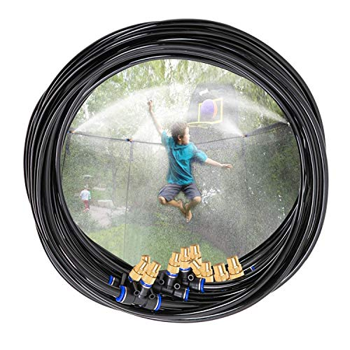 H&G lifestyles Outdoor Trampoline Water Play Sprinklers for Kids- Summer Outdoor Water Fun Game Toys Accessories - Great for Boys & Girls and Adults - Attached On Trampoline Safety Net Enclosure