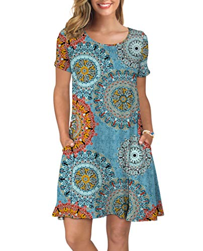 KORSIS Women's Summer Floral Dresses T Shirt Dress Flower Mix Blue S
