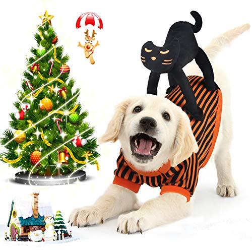 Idepet Hundekostüm Weihnachten, Hunde Kostüm Weihnachten mit Schwarz Katze Design Hunde Kostüm für Weihnachten Party Orange Schwarz