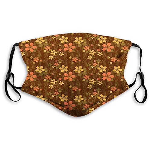 WEDA Wildflowers and Foliage on an Abstract Brown Background Unisex dust masks, washable and reusable outdoor dust masks, special holiday funny mask gifts