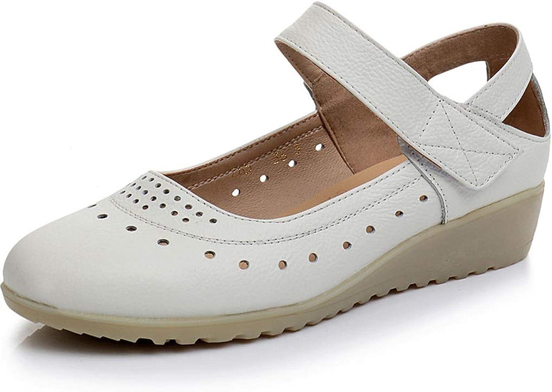 TARSHIN Single shoes Nurse shoes Wedges Hollow Female Shallow Mouth Work shoes