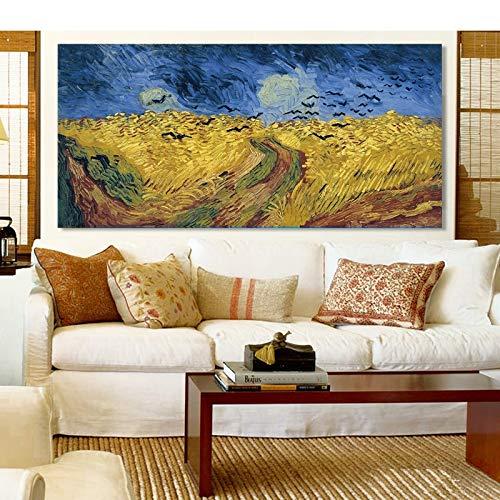 wZUN La última Pintura de Van Gogh de un Campo de Trigo con Cuervos, Carteles y Grabados Decorativos, Pinturas Decorativas para la Sala de Estar, murales, Lienzo artístico 50X100cm