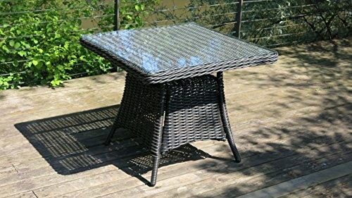 Alpuna Outdoor Rattan-Tisch Polyrattan 92x92cm mit Glasplatte