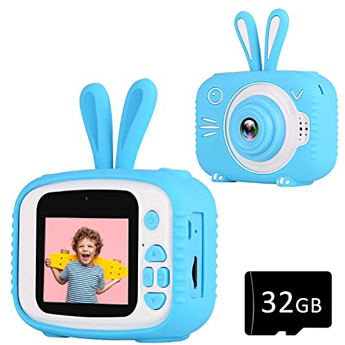 YOUSAMS Kids Camera Toys Gifts for 2-12 Year Old Boys Girls Kids Selfie Camera Camcorder 2.0 Inch IPS Screen with 32GB Card for Toddler Children Christmas Best Birthday Gift (Blue)