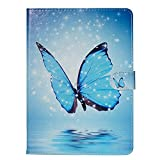 Ostop Compatible with Samsung Galaxy Tab A 8.0 2018 SM-T387 Tablet Case,Premium Stand Folio Case Slim Wallet PU Leather Smart Cover with Auto Sleep/Wake,Blue Butterfly