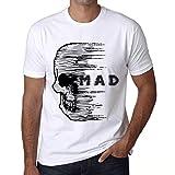 Photo de ULTRABASIC Homme T-Shirt Anxiety Skull Mad - Crâne Anxiété Furieux - Absurd (5XL, Blanc)