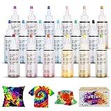 Ucradle Tie Dye Kit, Textiles de Tela 18 Piezas Colores Pinturas Ropa, Tintes Textiles Brillantes Tie Dye, Adecuado para Arte de Bricolaje Tie-Dye para Niños y Adultos
